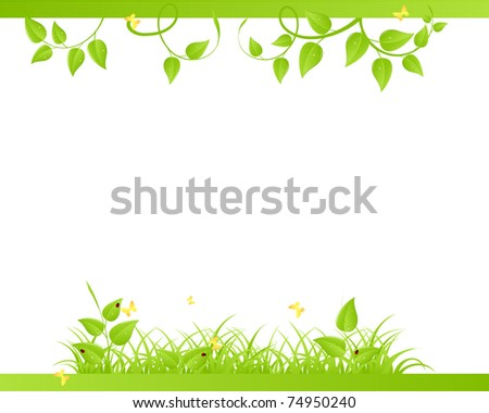 Floral background with ladybirds and butterflies. Vector illustration. - stock vector