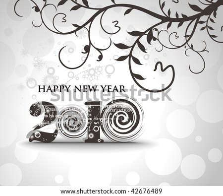 floral background with  new year 2010  in white background. Vector illustration - stock vector