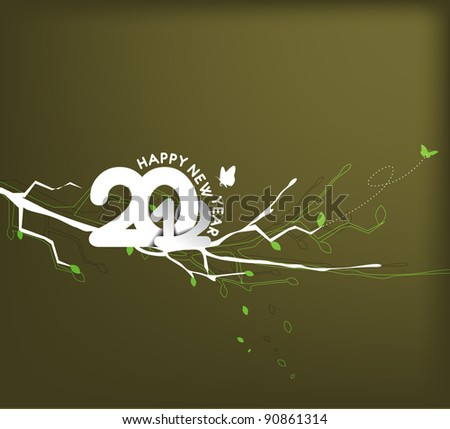 floral background with new year 2012. Vector illustration - stock vector
