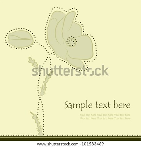 Floral background with poppy flowers, vector illustration - stock vector