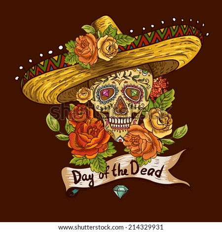Floral Background with Skull in Sombrero  Day of The Dead illustration - stock vector