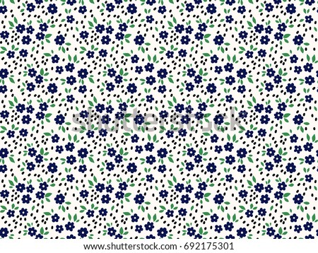 Floral background with small navy blue flowers. Memphis style. Vector seamless pattern. Creative geometric background with floral elements and different textures.