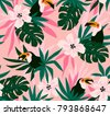 floral background with tropical ...
