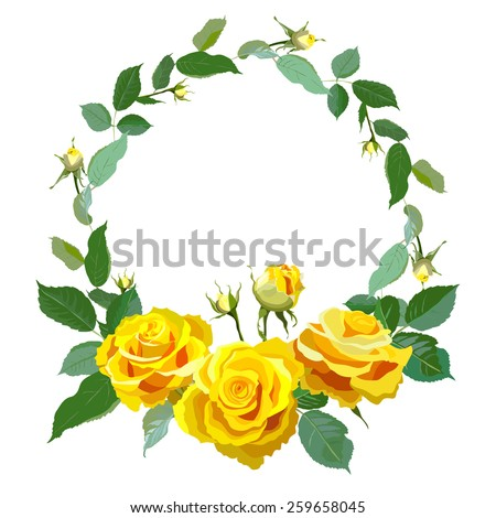 Floral Background with vintage label. Round frame with yellow realistic roses. Vector illustration  - stock vector