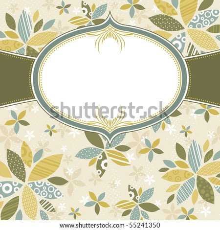floral background with  white label, vector illustration - stock vector