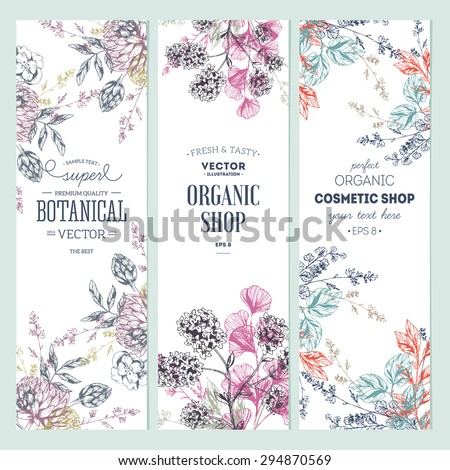 Floral banner collection. Organic shop. Vector illustration - stock vector