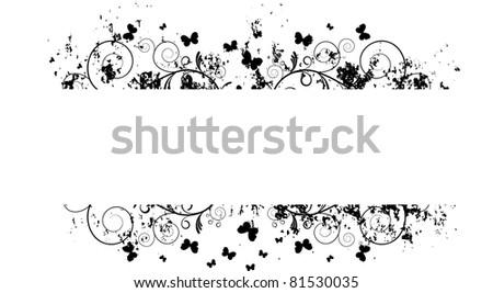 floral banner grunge - stock vector