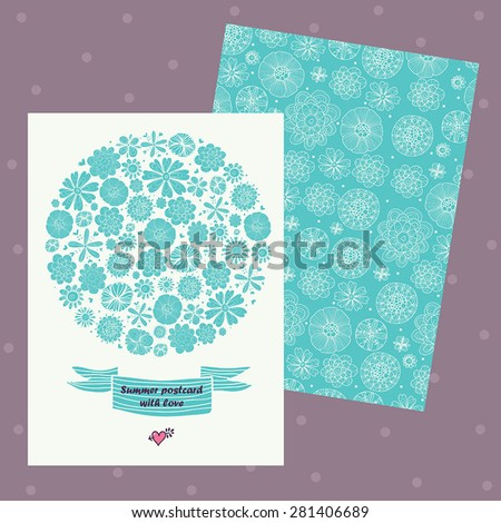 Floral banner in vintage style.Retro ornament is perfect for the original design of wedding cards, invitation to a party.  - stock vector