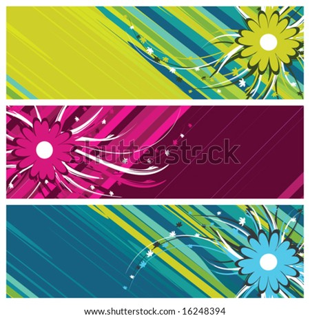 floral banners (headers), vector illustration
