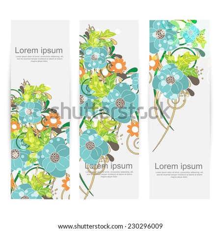floral banners. vector