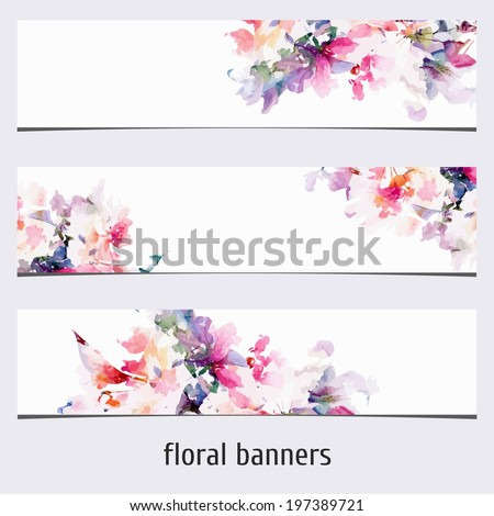 Floral banners. Watercolor floral background. - stock vector