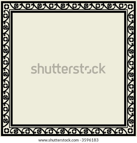 floral black-and-white frame