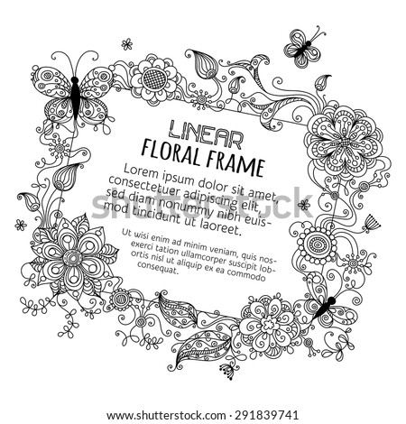 Floral blank sign. Illustration with linear floral elements and place for your text. Black and white illustration.  - stock vector