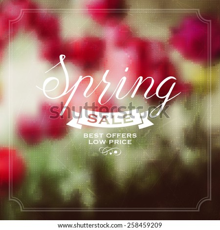 Floral blurred background with labels for spring design.  - stock vector