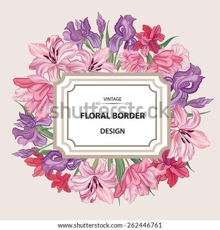 Floral border. Flower background. Vintage flourish spring card or cover. - stock vector