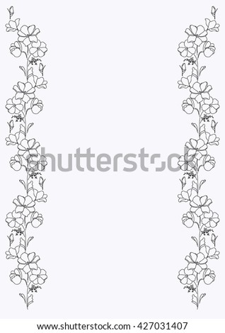 Floral Border For Design Decorative Element Of The Outline Flowers