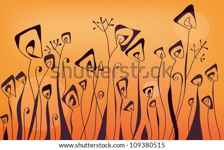 Floral border graphic banner in orange colors - stock vector