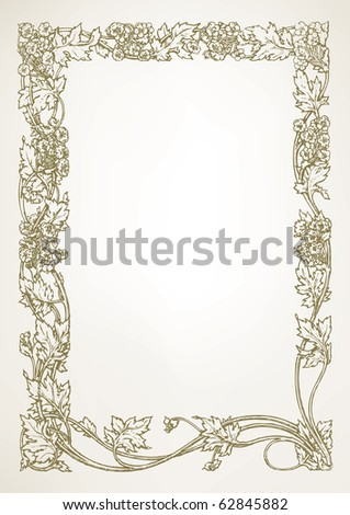 Floral border - hand drawn vector design background - stock vector