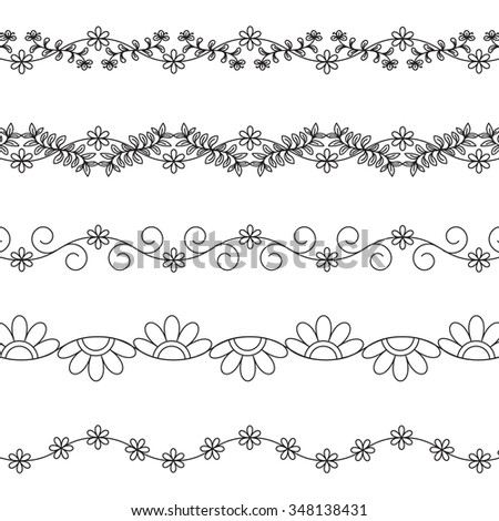 Floral border pattern hand drawn brushes on white - stock vector
