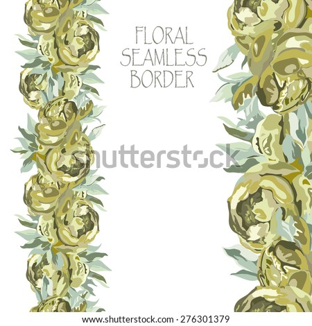 Floral border pattern of beautiful peonies.