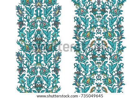 Floral borders on white background