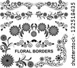 Floral borders - vector set. - stock vector