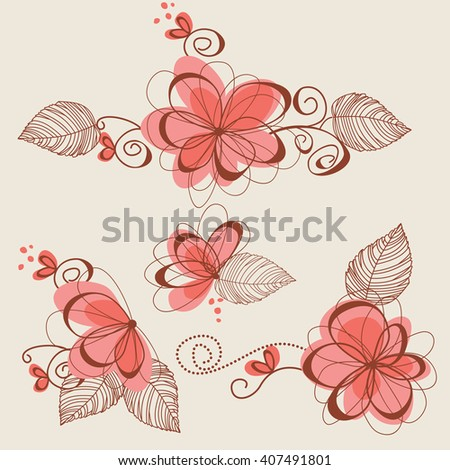 Floral bouquets, flower elements and page decorations - stock vector