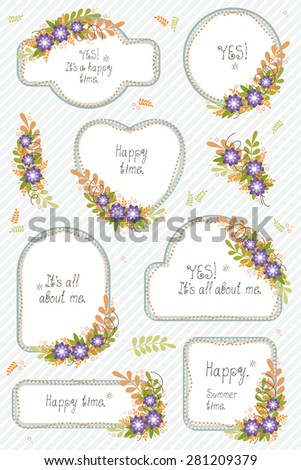 Floral bouquets, frames. The vector set for design. - stock vector