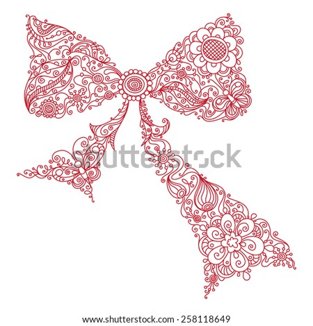 Floral bow. Red bow of floral pattern. Doodles linear illustration isolated on a white background. - stock vector