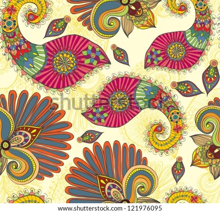 Floral bright seamless pattern with doodle flowers and paisley,vector illustration - stock vector