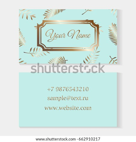 Floral Business Card Templates Fashion Cards On A Blue Background With Seamless Palm Leaves Patterned