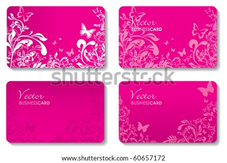 floral business cards - stock vector