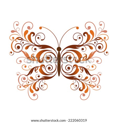 Floral butterfly design element - stock vector