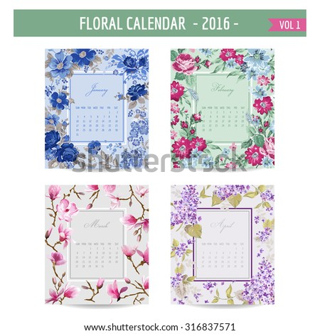 Floral Calendar - 2016 - with Vintage Flowers - in vector - vol.1 - stock vector