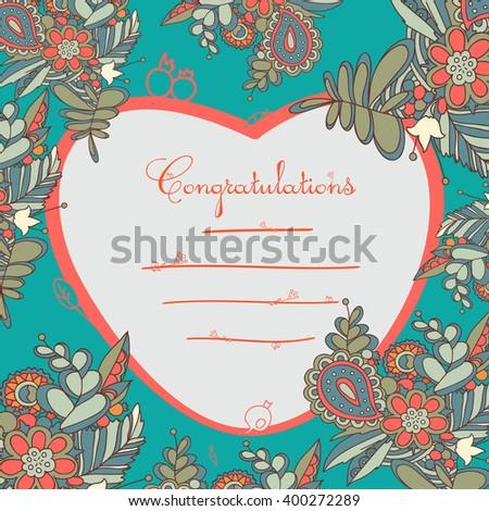 Floral card design, flowers and leaf doodle elements. - stock vector