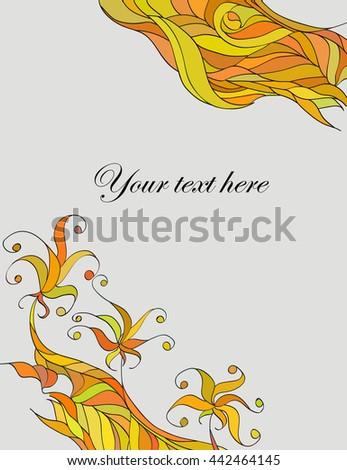 Floral card design, flowers and leaf doodle elements.Vector decorative invitation. Floral doodles - stock vector