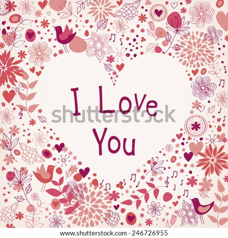 Floral card for Valentine's day - stock vector