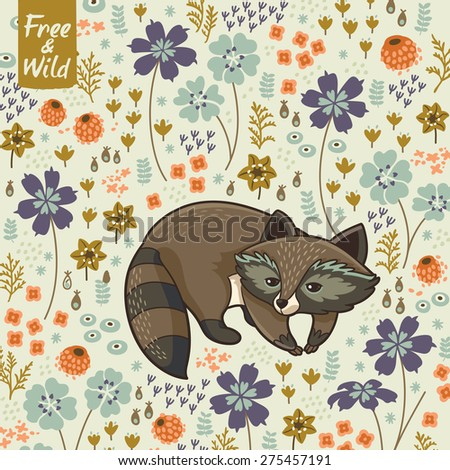 Floral card in Scandinavian style. Vector illustration - stock vector