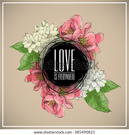 Floral card.Sketch style. Vector illustration.
