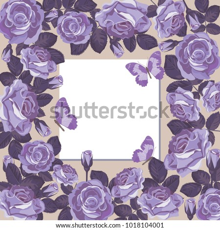 Floral card template blank empty frame stock vector 1018104001 floral card template with blank or empty frame violet roses and butterflies for wedding m4hsunfo