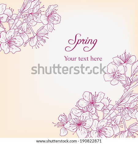 floral card with cherry blossoms, flowers composition, hand drawn vector illustration - stock vector