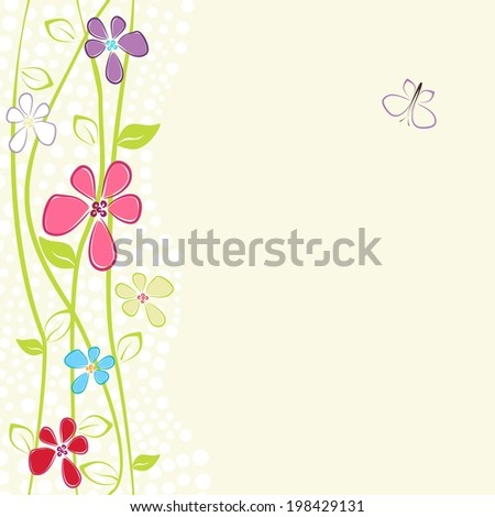 Floral card with copy space - stock vector