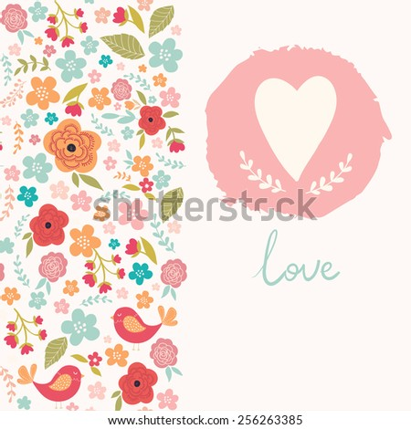 Floral card with heart - stock vector