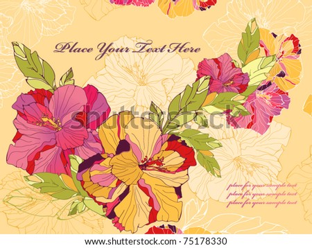 Floral card with hibiscus - stock vector