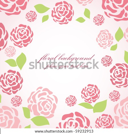 Floral card with pink roses - stock vector