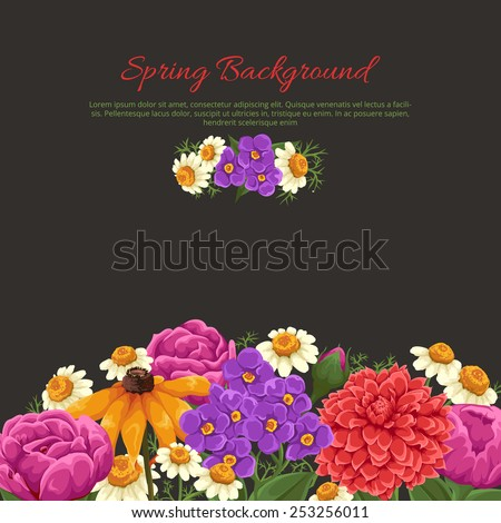 Floral card with pink roses, chamomile and other flowers - stock vector