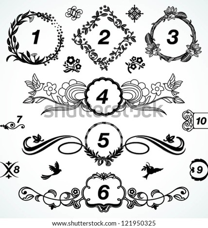 floral chapter dividers and elements - stock vector