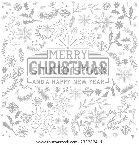 Floral Christmas Elements - christmas vector. - stock vector