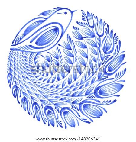 floral circle, hand drawn, vector, illustration in Ukrainian folk style - stock vector