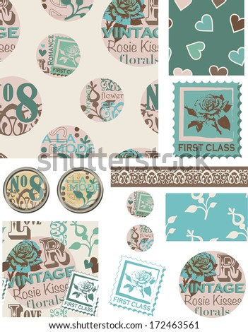 Floral Circle Vintage Inspired Vector Seamless Patterns and Elements. Use as fills, digital paper, or print off onto fabric to create unique items. - stock vector